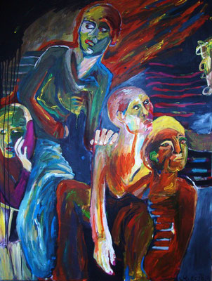 VOR ODER ZURÜCK, 2010, Acryl auf Leinwand, 120 x 161 cm