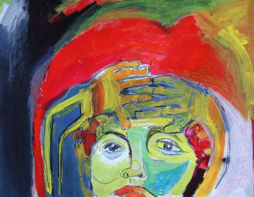 O.T., 2010, Acryl & Ölkreide auf Packpapier, 80 x 100 cm