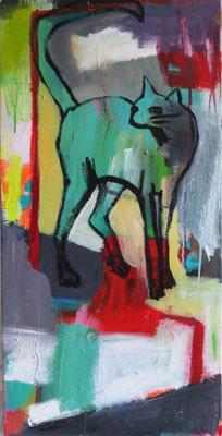 PUSS IN BOOTS, 2014, Acryl auf Leinwand, 40 x 80 cm