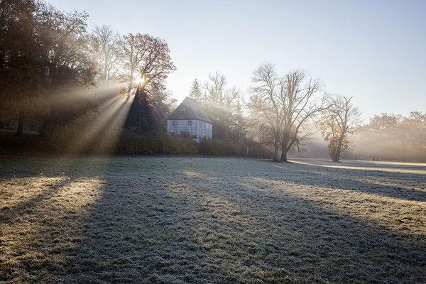 Sonnenstrahlen über Goethes Gartenhaus