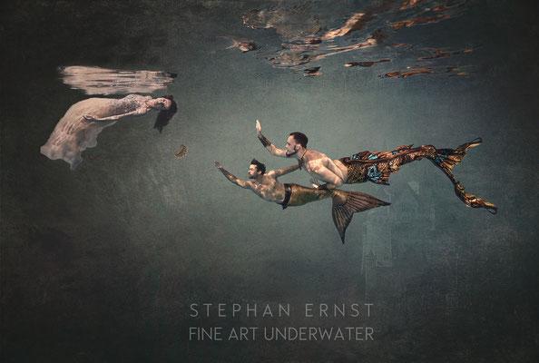 Meerjungfrauenschwimmen Unterwasserfotografie surreale Kunst