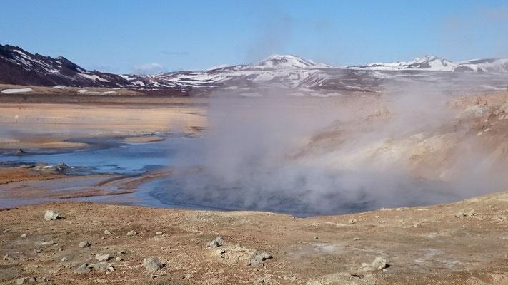 Geysire brodeln auf Island, starke ungezähmte Naturkraft, aus der Tiefe fast explosiv hervorgebracht, Feuerenergie, reinigend und klärend