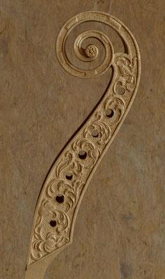 beschnitzte Schnecke einer 7-Saitigen - Violworks