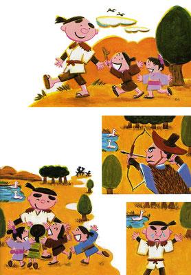 平成30年度版 小学道徳教科書 「小学どうとく3年生/はばたこう明日へ」 「よわむし太郎」使用挿絵 教育出版発行