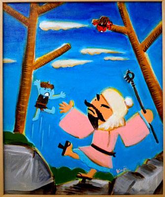 人に災いなす青鬼と赤鬼は、役行者に打ちのめされ改心した。 その後生駒の山中、暗峠の付近髪切山「慈光寺」にて、頭を丸め 前鬼・後鬼となり、役行者のお供し仕えたという。