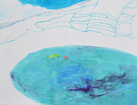 「Fishing」 32×41 cm 麻紙・岩絵具 2014年