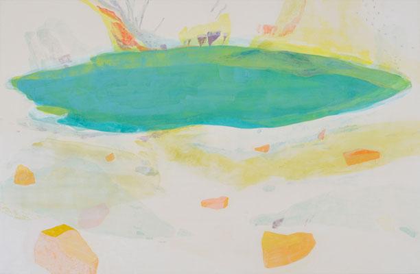 「ささやきながら結晶化する場所」 100×153 cm 麻紙・岩絵具  2008年