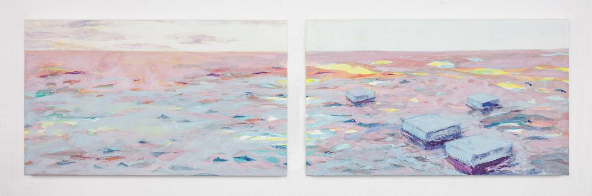 「薄明かり」 24.2×41.0 cm 麻紙・岩絵具 2017年
