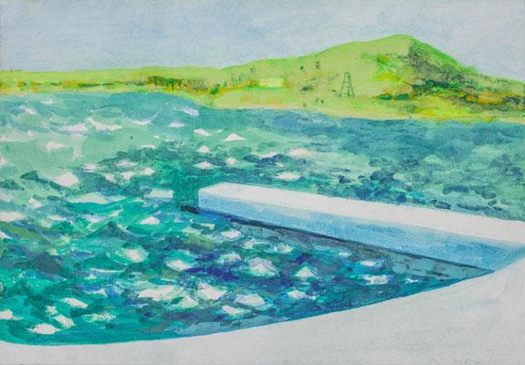 「Seascapes 01」 19×22.7 cm  麻紙・岩絵具・oil collors 2017年