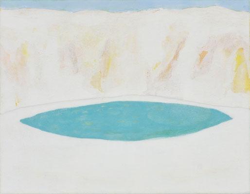 「白い時間軸のある風景」 14×18 cm   麻紙・岩絵具  2008年