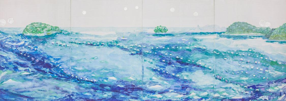 「海のいとなみ」 27.3×76 cm 麻紙・岩絵具・銀泥 2017年