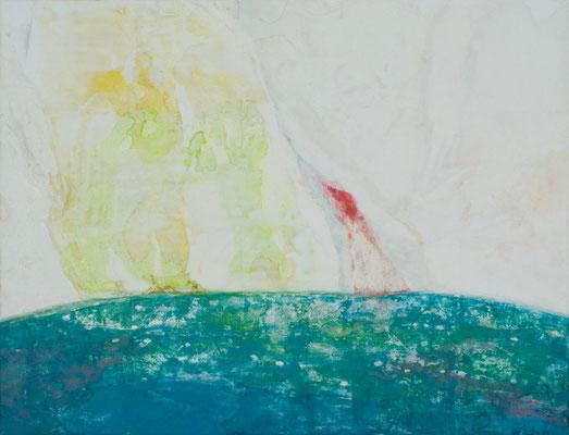 「しずかな雨」 50×65.2 cm 麻紙・岩絵具・銀箔 2009年