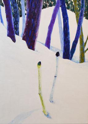 「Snow Wood」 91×65.2 cm 麻紙・岩絵具 2014年