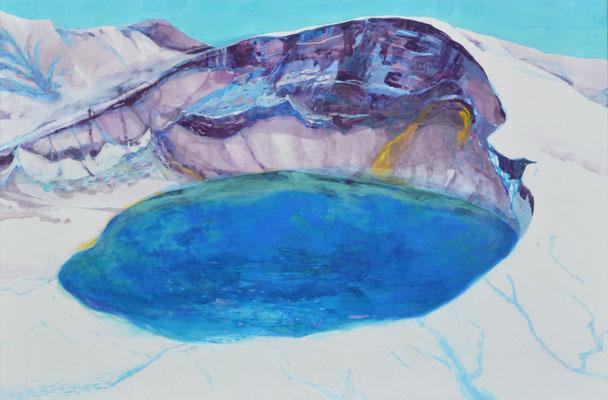 「Winter Lake」 97×145.5 cm 麻紙・岩絵具・コンテ 2014年
