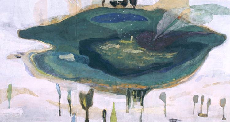 「みずうみ」 146×273 cm 麻紙・岩絵具 2006年