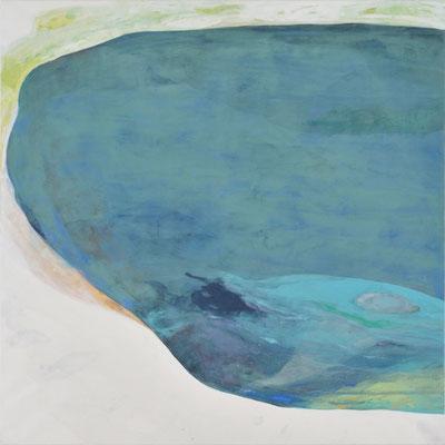 「その澄んだ水の中から聞こえる」 116.7×116.7 cm  麻紙・岩絵具・アクリル 2008年