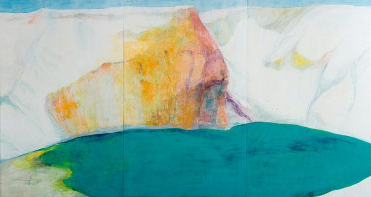 「しろい氷のような岩の場所で」 146×273 cm 麻紙・岩絵具・銀泥 2009年