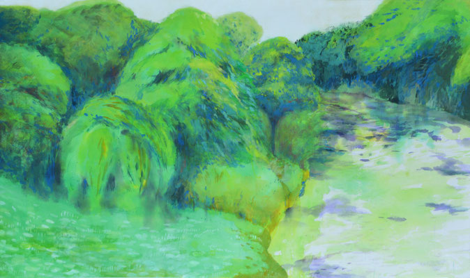 「River」 97×162 cm 麻紙・岩絵具・水彩 2013年