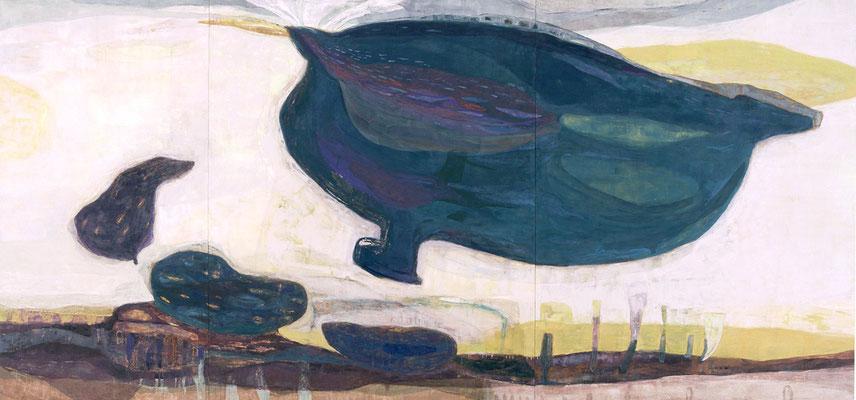 「うたう地」 162×346 cm 麻紙・岩絵具 2004年