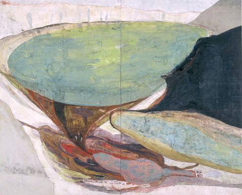 「みずおと」 182×227 cm 麻紙・岩絵具 2004年