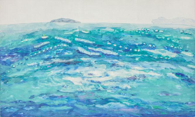 「漁場」 27.3×45.5 cm 麻紙・岩絵具・銀箔 2017年