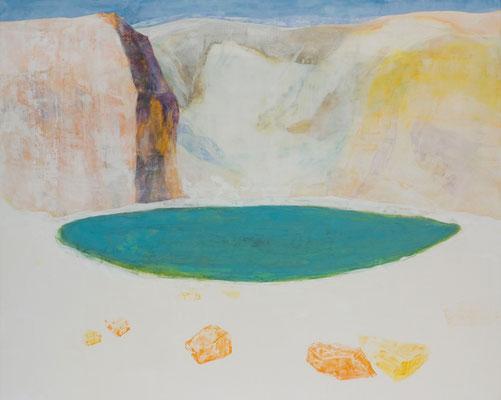 「しろい時間軸のある風景」 130.3×162 cm 麻紙・岩絵具 2009年