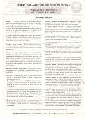 Contrat Chambre d'hote /verso
