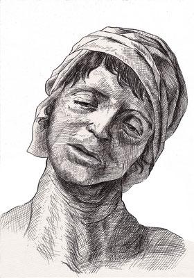 Marat assassiné, d'après David, encre de Chine à la plume, A4, 2017