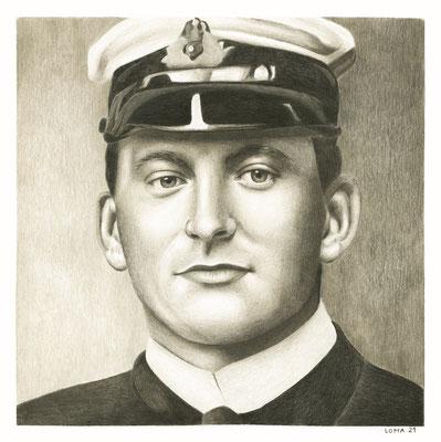 Henry Tingle Wilde, Chef officier du Titanic, crayons de couleurs, 22x22 cm, 2021