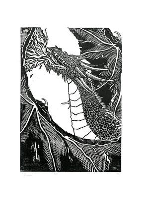 Dragon, linogravure, 7 tirages, 29,7x42 cm, 2019
