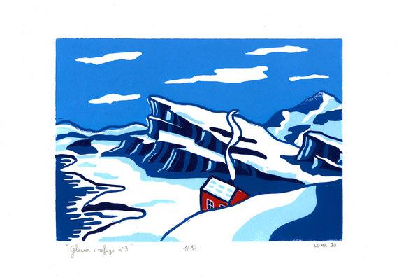Glacier, refuge n°3, linogravure polychrome, 17 tirages, A4, 2020