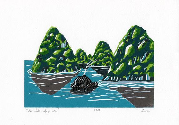 Les îlots, refuge n°2, linogravure polychrome, 17 tirages, A4, 2020
