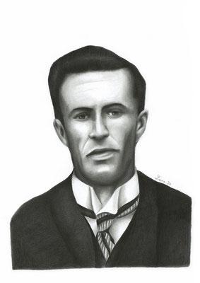 Lawrence Beesley, survivant du naufrage du Titanic, crayons graphite, A4, 2020