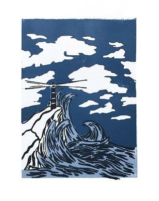 Un phare dans la tempête, refuge n°1, linogravure polychrome, 13 tirages, A4, 2020