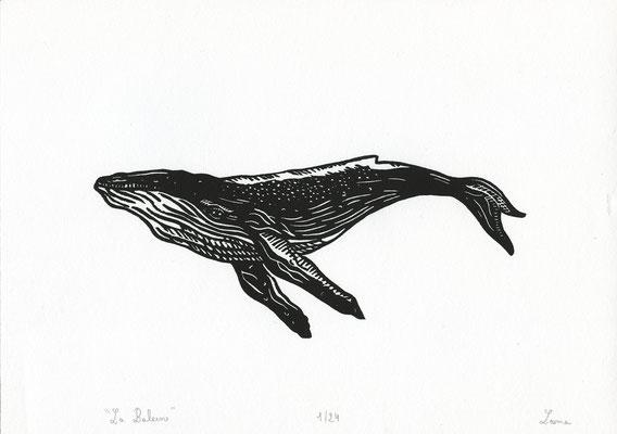 Baleine, linogravure, 24 tirages, A4, 2020