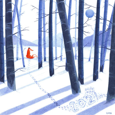 Renard dans la neige - carte de voeux 2021, crayons de couleur et aquarelle