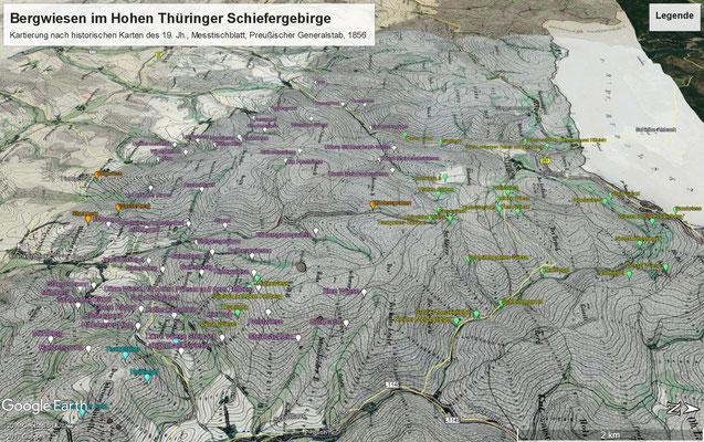 Messtischblattmontage mit Beschriftung an den kartierten Wiesen, Blick von Osten