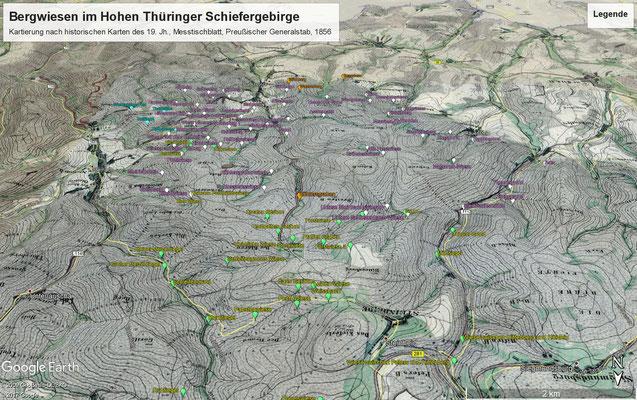 Messtischblattmontage mit Beschriftung an den kartierten Wiesen, Blick von Norden