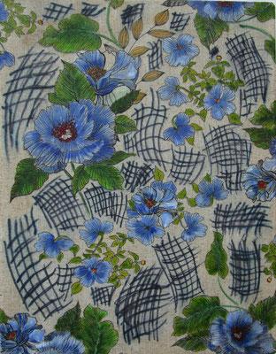 Blaue Blumen 45 x 35  2020