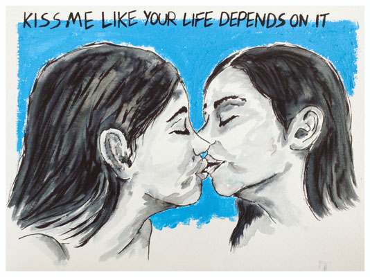 Kiss Me | acrylic & ink on paper | 32x24 cm | 12,6x9,4 inches