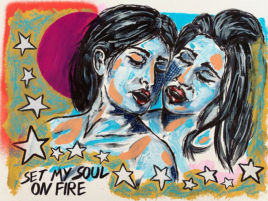 Set My Soul On Fire | mixed media on paper | 32x24 cm | 12,6x9,4 inches