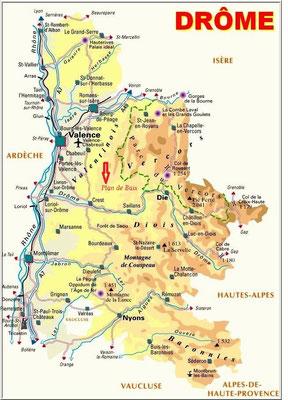 La Drome, carte et localisation de Plan de Baix