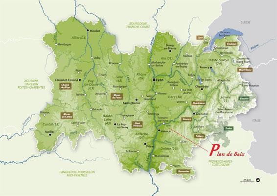 Carte Rhones Alpes : situation de Plan de Baix