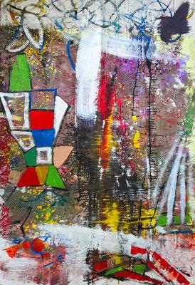 ABSTRAKT Lack, Acryl, Pigmente auf Leinen, 140 x 200 cm