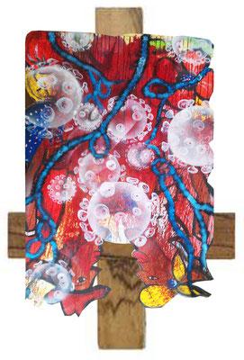 AFRICAN EMBRACE - CRADLE OF HUMANITY Lack, Blut auf Kunststoff und Holz, ca. 140 x 200 cm