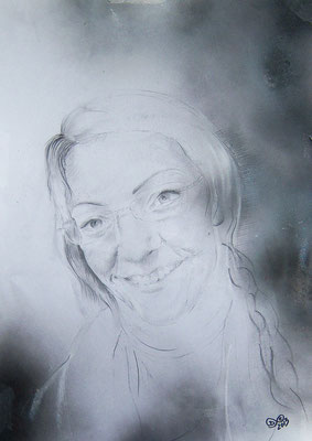 Sandra     Bleistift, Kohle auf Papier, 29,7 x 42 cm