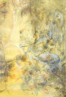 da vinci (Ausschnitt) Lack, Rötel, Acryl auf Leinwand 100 x 70 cm