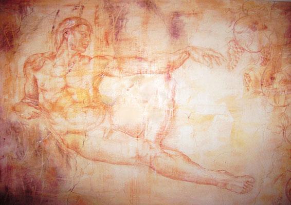 Adonis als Baccus ..Öl, Gips, Rötel auf Leinwand 170 x 120 cm