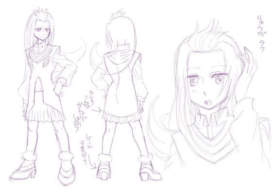 LOVE!MAZDAのオリジナルキャラクターを描く際に、キャラクターイメージをつかむため作成したラフです。© Hashimoto Suzu/HIDE-YUKI/LOVE!MAZDA