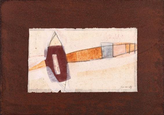 Relikt, Mischtechnk auf Eisenplatte, 30 x 42 cm
